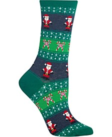 Women's Santa Fair Isle Crew Socks