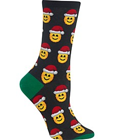 Women's Santa Smile Emoji Crew Socks