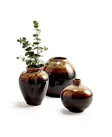 Earth Tone Patina Vases - Set of 3