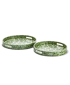 Daisy Mother of Pearl Decorative Trays - Set of 2