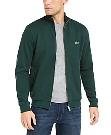 Brushed Pique Fleece Sweatshirt with Full Zip and Side Pockets