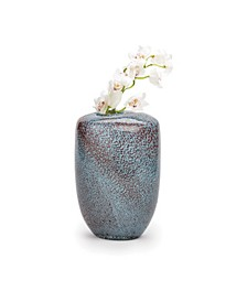 Aqua Gold Pattern Hand-Blown Vase