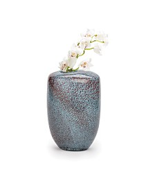 Aqua Gold Pattern Hand-Blown Vase