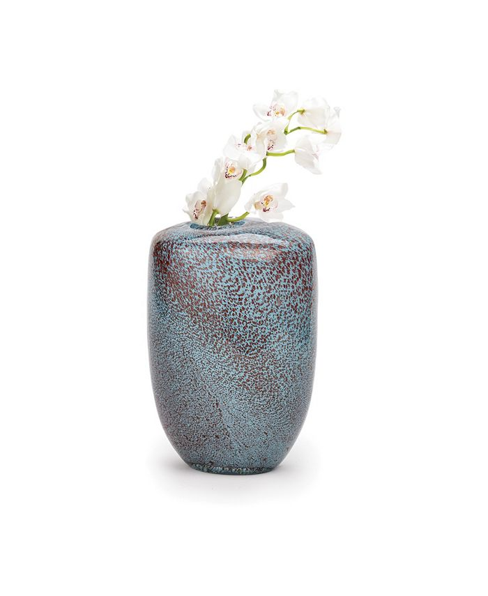 Two's Company - Aqua Gold Pattern Hand-Blown Vase slight variations in color and pattern are intrinsic to the design - Hand-Blown Glass
