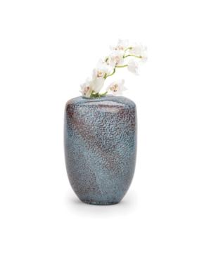 Two's Company Aqua Gold Pattern Hand-Blown Vase
