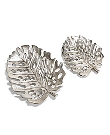 Silver Philodendron Decorative Leaf Trays - Set of 2