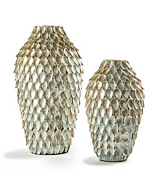 Abalone Shell Tall Black/Silver Vases - Set of 2