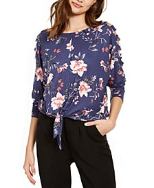 Juniors' Printed Cold-Shoulder Top