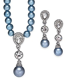 Silver-Tone Crystal and Imitation Pearl Pendant Necklace & Drop Earrings Set, Created For Macy's