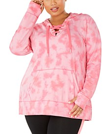 Plus Size Tie-Dyed Lace-Up Hoodie, Created For Macy's