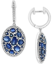 EFFY® Sapphire (6-1/6 ct.t.w) & Diamond (3/8 ct. t.w.) Statement Earrings in 14k White Gold