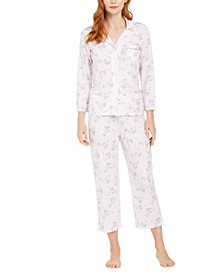 Floral-Print Knit Pajamas Set