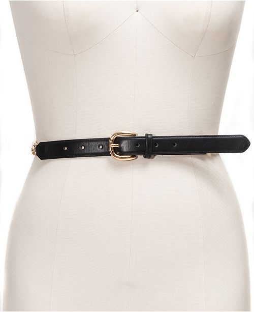 INC International Concepts I.N.C. Smooth Belt with Chain-Link Detail, Created For Macy's