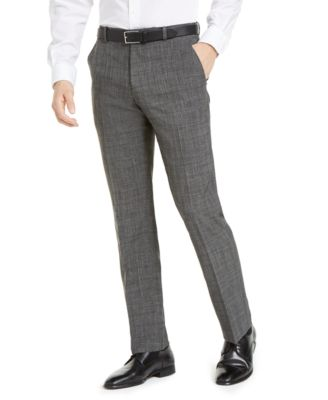 Men's Portfolio Modern-Fit Performance Charcoal Heathered Plaid Dress Pants