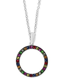 "EFFY® Multi-Gemstone (1/3 ct. t.w.) Circle 18"" Pendant Necklace in Sterling Silver"