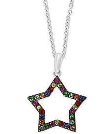 "EFFY® Multi-Gemstone (1/3 ct. t.w.) Star 18"" Pendant Necklace in Sterling Silver"
