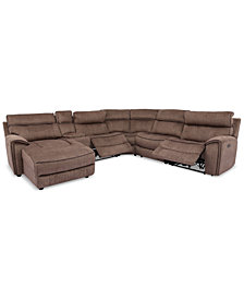 Hutchenson 6-Pc. Fabric Chaise Sectional with 2 Power Recliners and Console