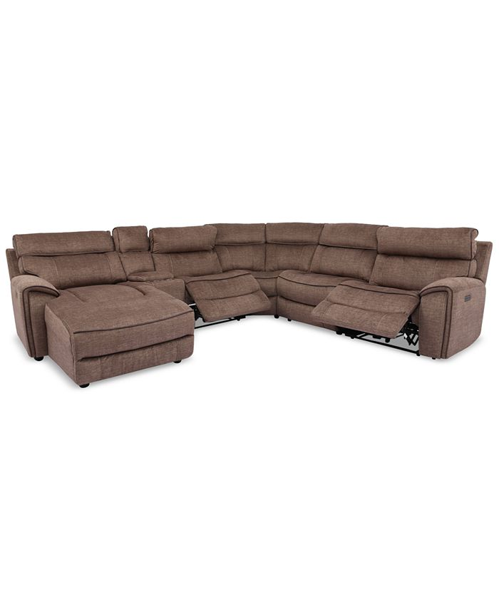 Furniture - Hutchenson 6-Pc. Fabric Chaise Sectional with 2 Power Recliners and Console