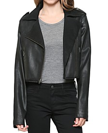 Faux Leather Cropped Motorcycle Jacket