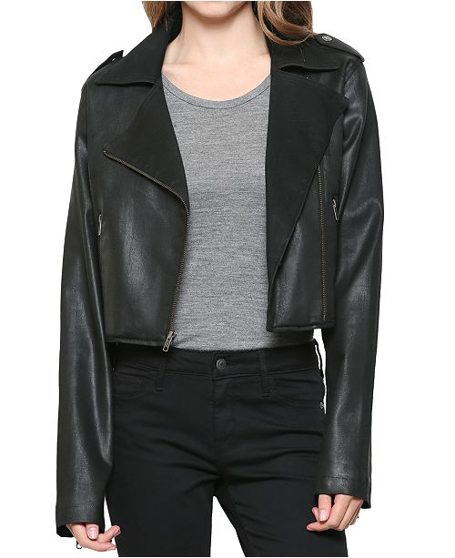 Hidden Jeans Faux Leather Cropped Motorcycle Jacket