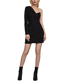 One-Shoulder Tuxedo Mini Dress