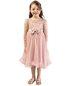 Little Girls Lace Bow Dress