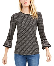 Chain-Print Bell-Sleeve Top, Regular & Petite Sizes