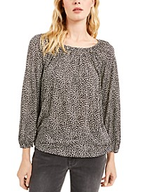 Flat Cat Printed Peasant Top, Regular & Petite Sizes