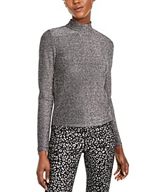 Metallic-Threaded Mock-Neck Top, Regular & Petite