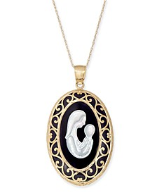 "Onyx (30 x 22mm) & Mother-of-Pearl Mother & Child 18"" Pendant Necklace in 14k Gold"
