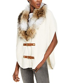 Faux-Fur Buckle Poncho, Regular & Petite Sizes