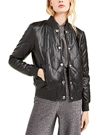 Faux-Leather Quilted Bomber Jacket