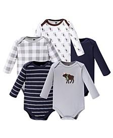 Baby Girl Long Sleeve Bodysuit, 5-Pack