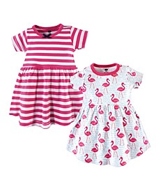 Toddler Girl Cotton Dress, 2-Pack Bright Flamingo