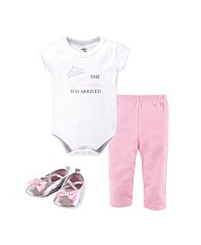 Baby Girl Bodysuit, Pants and Pair of Shoes Set