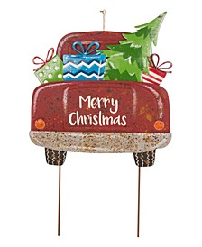 Rusty Metal Christmas Truck Yard Stake Or Standing Decor Or Wall Decor KD, Three Function