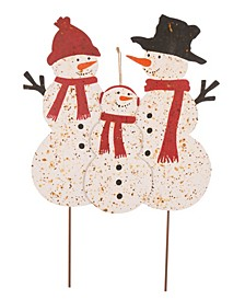 Rusty Metal Snowman Family Yard Stake Or Standing Decor Or Wall Decor KD, Three Function