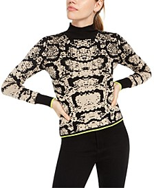 Juniors' Snake Print Turtleneck Sweater