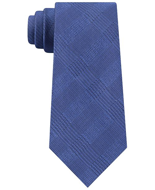 Calvin Klein Men's Slim Tonal Plaid Silk Tie