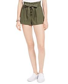 Juniors' Belted Paper-Bag Shorts