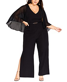 Trendy Plus Size Sheer-Cape Belted Jumpsuit