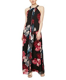 Embellished Neckline Floral Maxi Dress