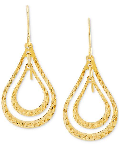 Macy's Textured Orbital Open Teardrop Drop Earrings in 10k Gold