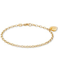 Heart Charm Link Chain Bracelet in 10k Gold