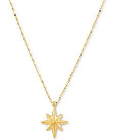 """Polished Starburst 18"""" Pendant Necklace in 10k Gold"""