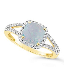 Created Opal (3/4 ct. t.w.) and Created White Sapphire (1/4 ct. t.w.) Ring in 10k Yellow Gold