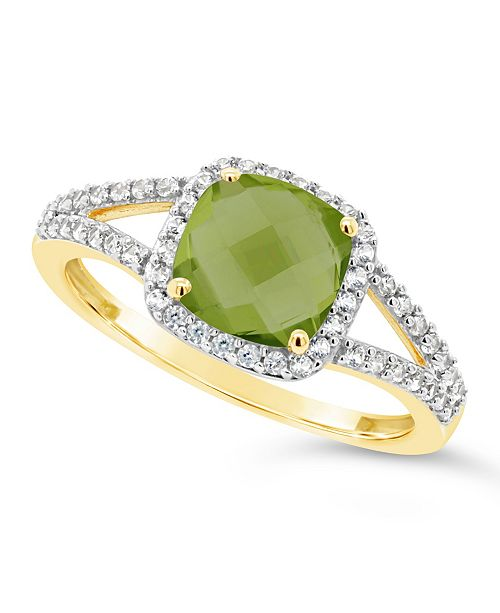 Macy's Peridot (1-7/8 ct. t.w.) and Created White Sapphire (1/4 ct. t.w.) Ring in 10k Yellow Gold