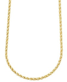 "14k Gold Necklace, 30"" Twist Rope Polished Chain (3mm)"