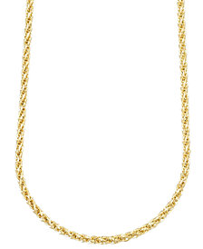"14k Gold Necklace, 30"" 3mm Twist Rope Polished Chain"