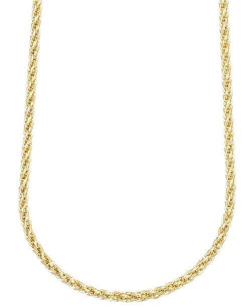 "Italian Gold 14k Gold Necklace, 30"" 3mm Twist Rope Polished Chain (3mm)"